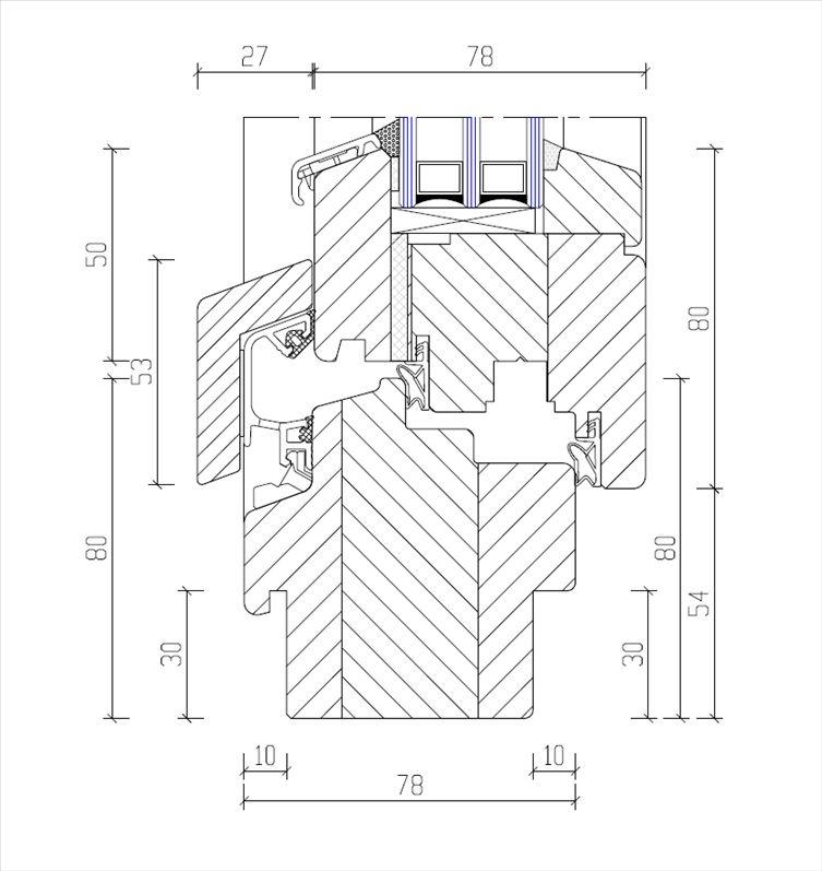 Haustür vertikalschnitt  System IV 78 VRSS - Favorit-Fenster