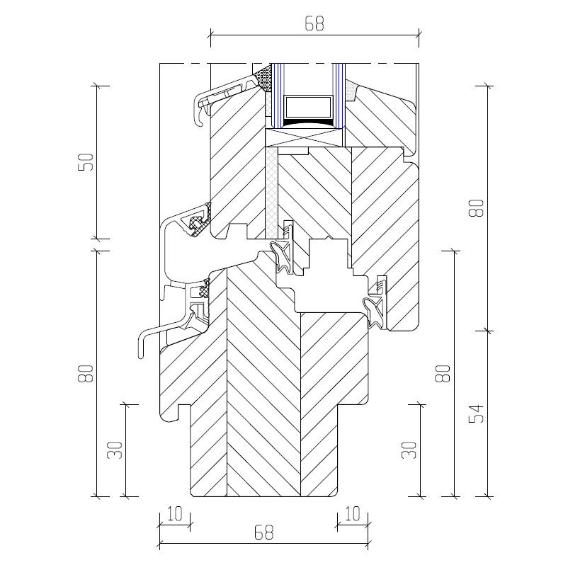 Haustür vertikalschnitt  System IV 68 - Favorit-Fenster